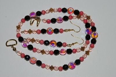 "MBA #B2-036  ""Fancy Pink Crystal & Glass Bead Necklace & Earring Set"""