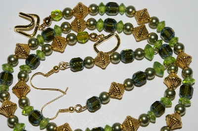 "MBA #B2-033  ""Vintage Green Glass Bead & Pearl Necklace & Earring Set"""