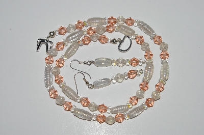 "MBA #B2-030  ""Clear Luster Glass bead & Pink Crystal Necklace & Earring Set"""