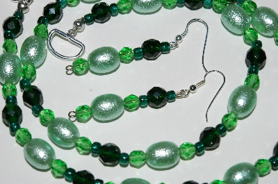 "MBA #B2-015  ""Fancy Green Glass Pearl, Bead & Crystal Necklace & Earring Set"""