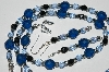 "MBA #B2-027  ""Fancy Blue Crystal & Bead Necklace & Earring Set"""
