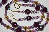 "MBA #B2-024  ""Fancy Purple Crystal & Pearl Necklace & Earring Set"""