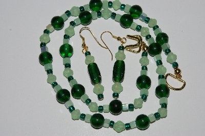 "MBA #B2-021  ""Matte Green & Dark Green Glass bead Necklace & Earring Set"""