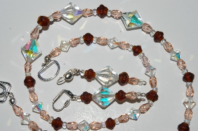 "MBA #B2-003  ""Vintage AB Crystal, Pink Crystal & Matte Brown Glass Bead Necklace & Earring Set"""