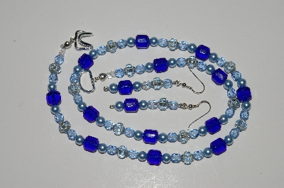 "MBA #B2-012  ""Vintage Blue Glass Bead, Crystal & Pearl Necklace & Earring Set"""