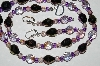 "MBA #B2-009  ""Fancy Purple & Lavender Crystal Bead Necklac & Earring Set"""
