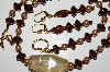 "MBA #B3-058  ""Vintage Tan Pearls, Brown Glass & Lamp Worked Bead Necklace & Earring Set"""