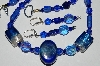 "MBA #B3-034  ""Fancy Lamped Worked Glass Blue Bead & Crystal Necklace & Earring Set"""