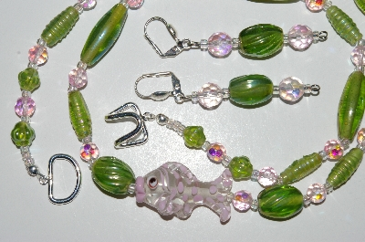 "MBA #B3-031  ""Green Luster Glass, Pink Crystal ""Fish"" Necklace & Earring Set"""