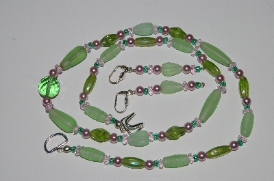 "MBA #B3-076   ""Green Glass Bead, Pink Crystal & Pearl Necklace & Earring Set"""