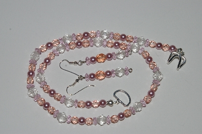 "MBA #B3-067  ""Fancy Pink & Clear Crystal & Pink Pearl Necklace & Earring Set"""