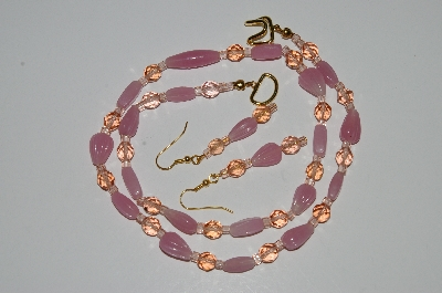 "MBA #B3-070   ""Pink Glass & Crystal Bead Necklace & Earring Set"""
