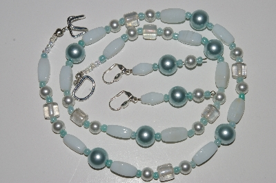 "MBA #B3-021  ""White Milk Glass & Clear Glass Bead & Pearl Necklace & Earring Set"""