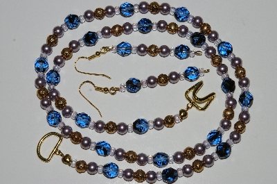 "MBA #B3-079  ""Fancy Blue Glass,Lavender Glass pearl & Gold Plated Rose Bead Necklace & Earring Set"""