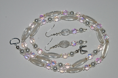 "MBA #B3-025  ""Clear Glass Bead,Pink AB & Clear Crystal & Pearl Necklace & Earring Set"""