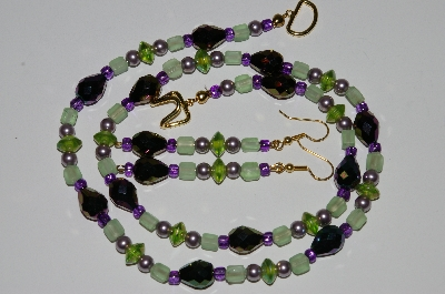 "MBA #B3-088  ""Green Glass,Lavender Pearls & Purple Peacock Crystal Bead Necklace & Earring Set"""