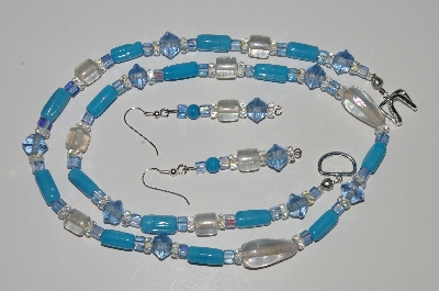 "MBA #B3-061  ""Blue,Clear Glass Bead & Crystal Necklace & Earring Set"""