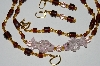 "MBA #B3-018   ""Brown & Gold Glass Bead & Fancy Lamp Worked Pink Fish Bead Necklace & Earring Set"""