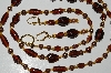 "MBA #B3-040  ""Vintage Brown Glass Pearls, Brown & Gold Glass Bead Necklace & Earring Set"""