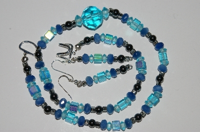 "MBA #B3-106  ""Blue Glass Bead, Gemstone & Hemalyke Bead Necklace & Earring Set"""