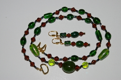 "MBA #B3-064   ""Brown & Green Glass Bead & Crystal Necklace & Earring Set"""
