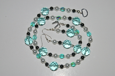 "MBA #B3-103  ""Blue Glass, Crystal, Pearl & Hemalyke Bead Necklace & Earring Set"""