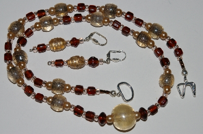 "MBA #B3-109  ""Vintage Glass Pearl, Pale Pink & Brown Glass Bead Necklace & Earring Set"""