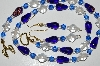 "MBA #B3-06  ""Blue & Clear Glass Bead & Crystal Bead Necklace & Earring Set"""