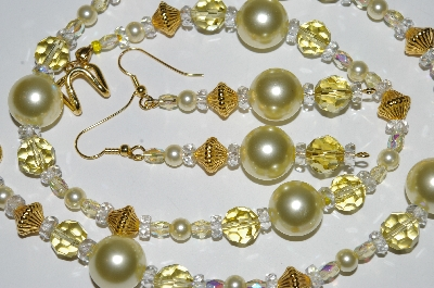 "MBA #B3-091  ""Fancy Yellow Glass Pearl & Crystal Necklace & Earring Set"""