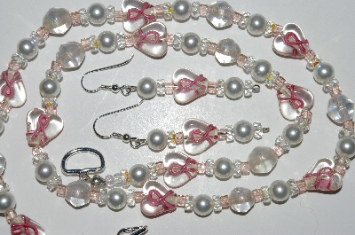 "MBA #B3-043  ""Breast Cancer Clear Glass Heart Beads,White Pearls & Crystal Necklace & Earring Set"""