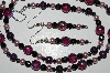 "MBA #B3-173  ""Purple & Black Crystal, Purple Gemstone, Pearl & Hemalyke Bead Necklace & Earring Set"""
