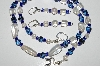 "MBA #B3-009  ""Luster Clear Glass Bead & Blue Glass Bead Necklace & Earring Set"""