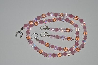 "MBA #B3-170  ""Fancy Pink Glass & Pink Crystal Necklace & Earring Set"""