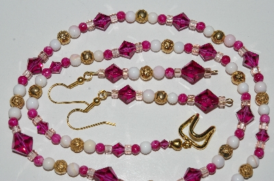 "MBA #B3-003  ""Pink Crystal, White Gemstone, Gold Plated Rose Bead Necklace & Earring Set"""