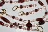 "MBA #B3-118  ""Brown Glass & Pink Crystal Bead Necklace & Earring Set"""