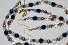 "MBA #B3-094  ""Black, Blue & AB Clear Crystal Necklace & Earring Set"""