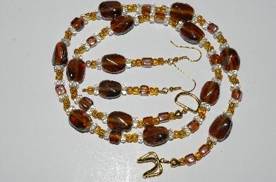 "MBA #B3-046  ""Luster Brown Glass Bead & Clear Crystal Necklace & Earring Set"""