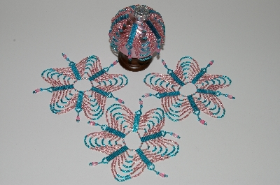 "MBA #B3-161  ""Set Of 4 Hand Beaded Blue & Pink Ornament Covers"""