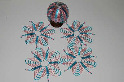 "MBA #B3-165  ""Set Of 5 Hand Beaded Pink & Blue Ornament Covers"""