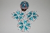 "MBA #B3-158  ""Set Of 4 Hand Beaded Blue & Pink Ornament Covers"""
