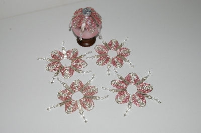 "MBA #B3-151  ""Set Of 5 Hand Beaded Pink & Silver Ornament Covers"""