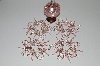 "MBA #B3-123  ""Set Of 5 Hand Beaded Pink & Silver Bead & Pink Crystal Ornament Covers"""