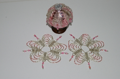 "MBA #B3-144  ""Set Of 3 Hand Beaded Silver & Pink Ornament Covers"""
