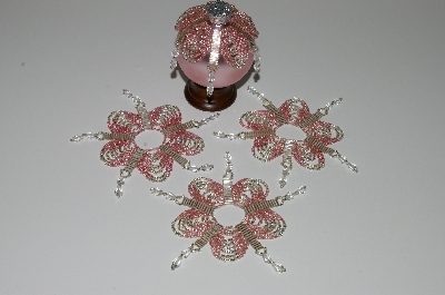 "MBA #B3-133 ""Set Of 4 Hand Beaded Pink & Silver Ornament Covers"""