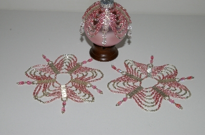 "MBA #B3-147  ""Set Of 3 Hand Beaded Pink & Silver Ornament Covers"""