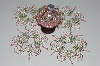 "MBA #B3-126  ""Set Of 5 Hand Beaded Silver & Pink Ornament Covers"""