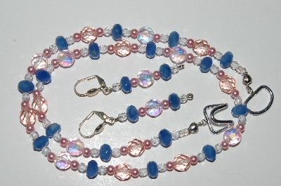 "MBA #B4-3021  ""Pink Crystal,Blue Gemstone & Pink Glass Pearl Necklace & Matching Earring Set"""