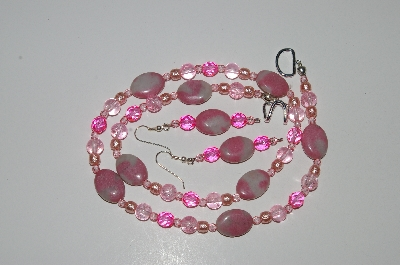 "MBA #B4-3015  ""Pink Gemstone,Crystal,Glass Bead & Pink Pearl Necklace & Earring Set"""