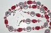 "MBA #B4-3012  ""Lamp Worked Glass Rose Bead Necklace & Matching Earring Set"""