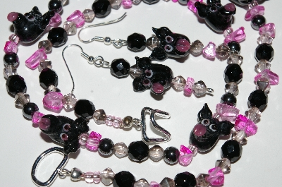 "MBA #B4-3009  ""Fancy Black Glass Pig Head,Black Crystal & Hemalyke Bead Necklace & Matching Earring Set"""